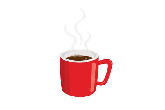 Coffee in a red cup with smoke isolated on white background.