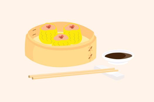 Dim sum in bamboo basket with a cup of sauce and chopsticks placed on the side. Dim sum are favorite snack of the Asians.