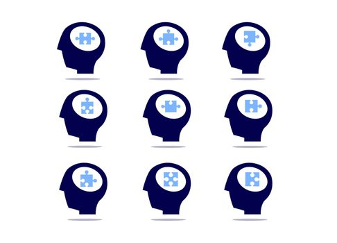 Set of head with jigsaw isolated on white background. Various puzzles in the human head.