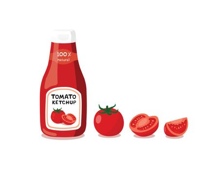 Tomato ketchup isolated on white background.
