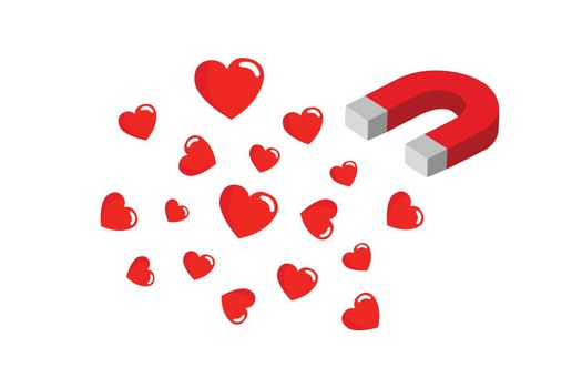 The magnet is attracting the heart into itself. The power to attract love. Red magnet with hearts.