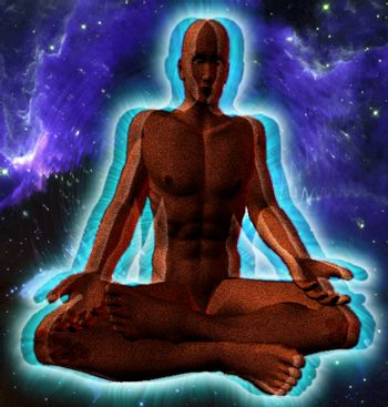 Meditation. Man figure in lotus pose with shining aura