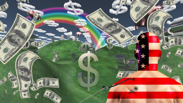 American man is hooked before wealth landscape