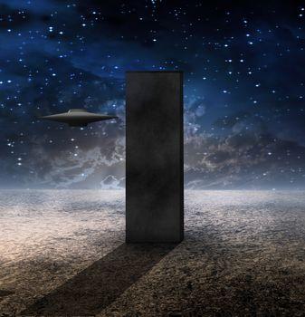 Alien Craft Approaches Monolith