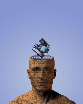 Art Mind. Symbolic composition. Artworks and films, slides falls into man head