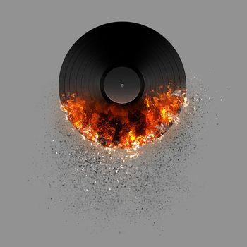 Burning LP record