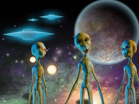 Three aliens. Flying saucers in space