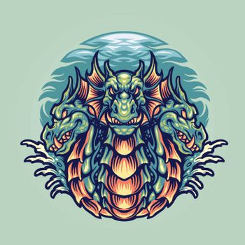 Dragon Hydra Character Mascot Illustrations for merchandise and clothing line