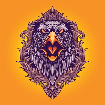 Eagle Angry Ornaments Illustrations for logo and merchandise clothing line fashionable