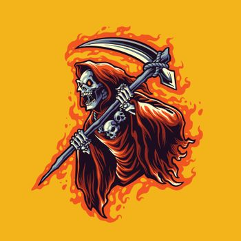 illustration grim reaper cartoon vector for merchandise sticker and clothing line brands