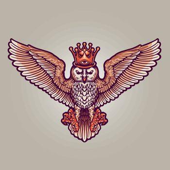 King Owl Mascot Full Colour Illustrations for merchandise logo mascot and design clothing line