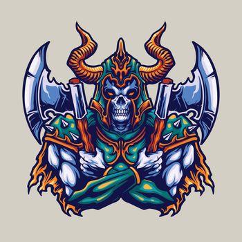 Skull Viking Helmet and axe Warrior Illustrations for merchandise and design clothing line