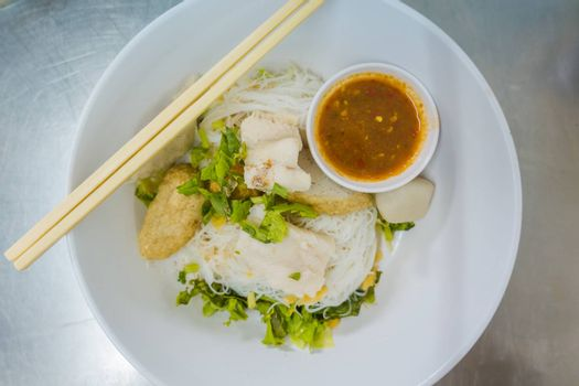 Asian style noodle with fish and fishball