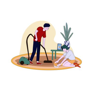 Father and son clean flat vacuuming with vacuumer vector cartoon illustration