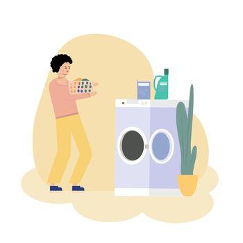 Vector illustration of Boy doing laundry with washing machine.