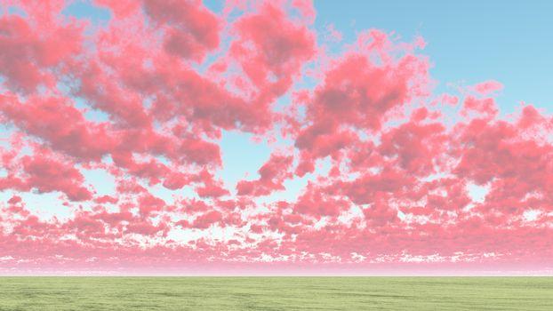Red cumulus clouds