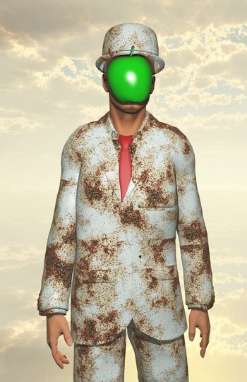 Man in white corroded suit