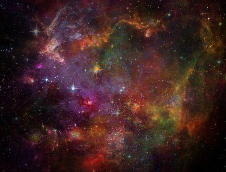 Vivid space. Big Babies in the Rosette Nebula. 3D rendering