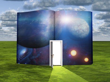 Book with science fiction scene and open doorway of light. 3D rendering