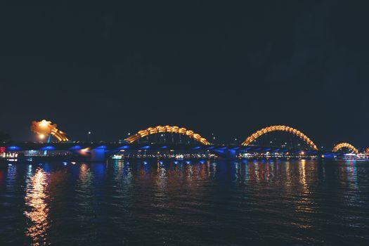 Dragon bridge night light in danang, vietnam