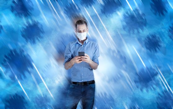 waiting businessman with smartphone in hand. facial mask on the face because of corona virus pandemic. triangle background abstract. spot in middle