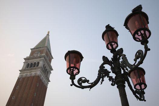Italy Venice San Giorgio Maggiore tower and lamp post low angle view