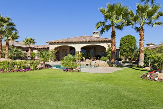 Lawn in front of luxury mansion