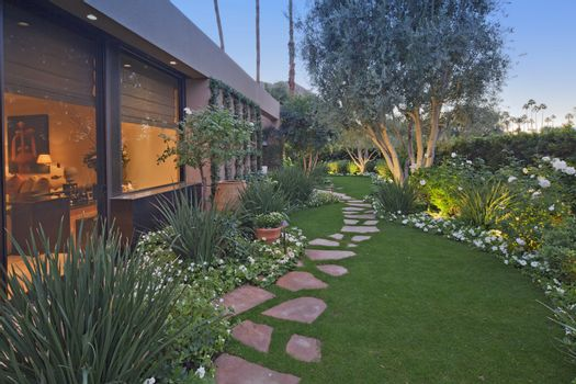 Garden outside luxury mansion