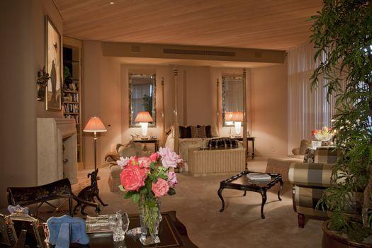 Luxurious bedroom interior of villa