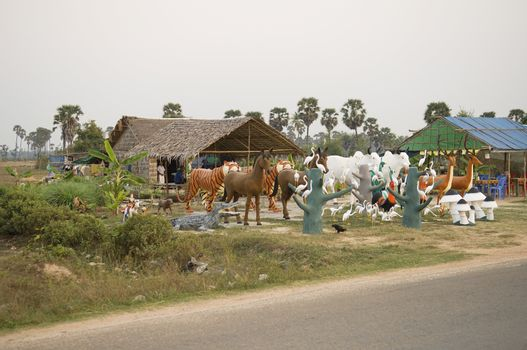Wild Animal Statues at Tourist Attraction in Asia