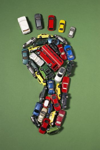 Footprint shape made of toy cars