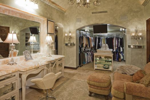 View of wardrobe in dressing room of mansion