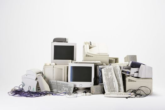 Pile of computer hardware