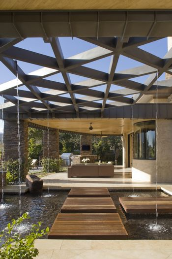 Modern patio of luxury residential house