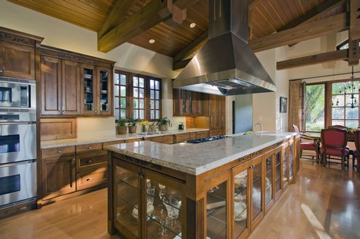 Contemporary kitchen counter in luxury mansion