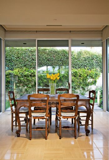 Dining table in country house