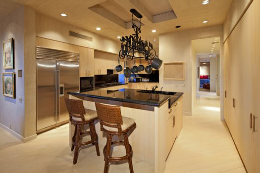 Contemporary kitchen counter in manor house