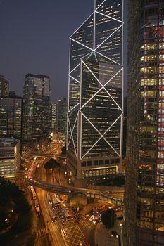 China Hong Kong New Bank of China and street elevated view