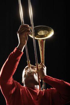 Man Playing Trombone low angle view