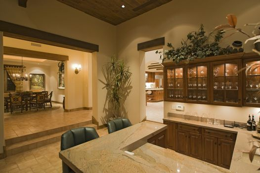 Bar counter in luxury home