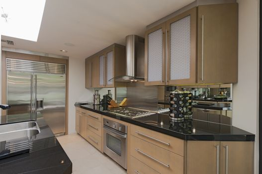 Contemporary kitchen counter and stove in mansion