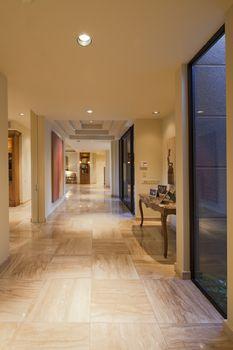 Long hallway in luxury manor house