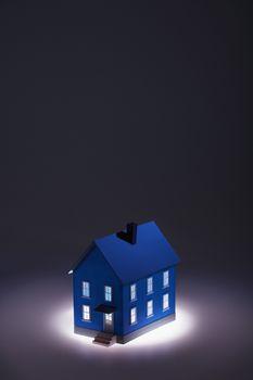 Illuminated model house