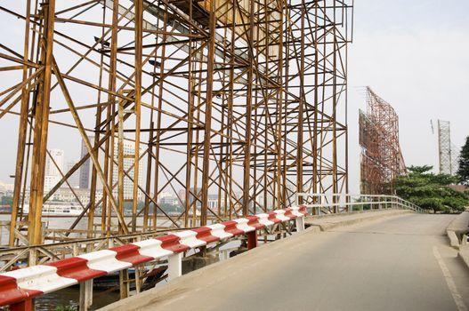 Billboard Scaffolding Along Road