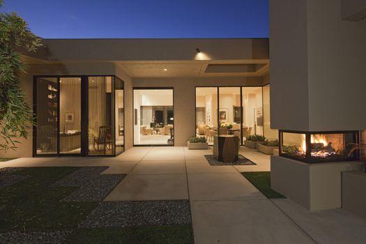 Luxurious villa in evening