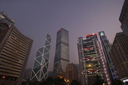 China Hong Kong skyline at sunset