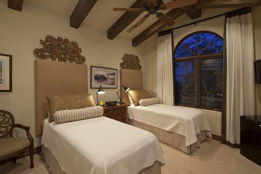 Two beds in luxury villa