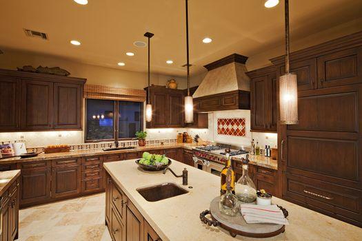 Interior of contemporary kitchen in luxury villa