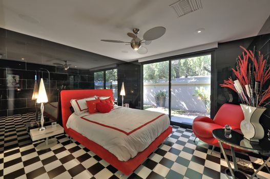 Bedroom with checked pattern in modern mansion