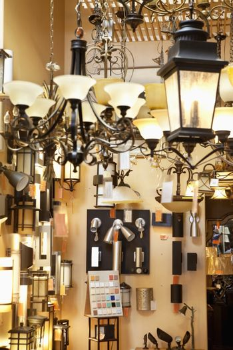Lighting equipments on display in store